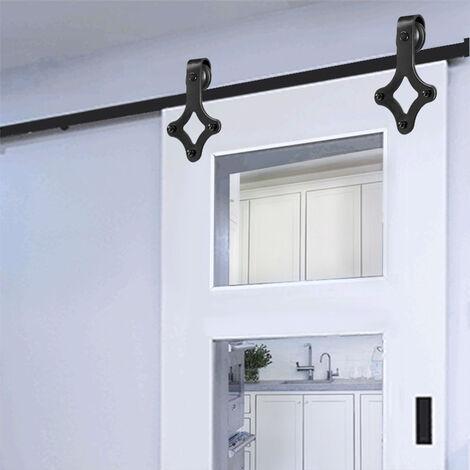 BATHRINS®200cm Schiebetürbeschläge,Laufschiene Schiebetür,Schiebetür für hängende Tür Holz (Tür nicht im Lieferumfang enthalten