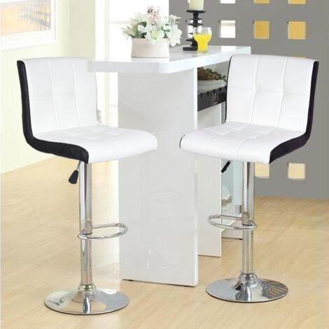 BATHRINS®2x Barhocker - Weiße und schwarze Imitation - Zeitgenössischer Stil - L 45 x T 49,5 cm