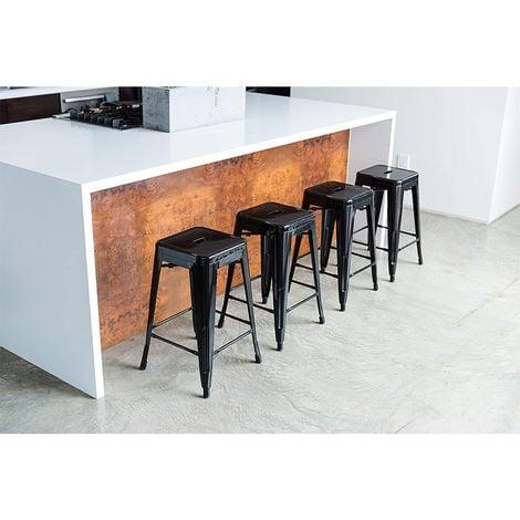 BATHRINS®4 x 24 pouces de hauteur tabouret de bar industriel chaise de bar comptoir de cuisine bistro café noir