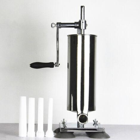 BATHRINS®4L Poussoir à Saucisses Viande, Machine à Saucisse en Acier Inoxydable, pour Maison ou Restaurant