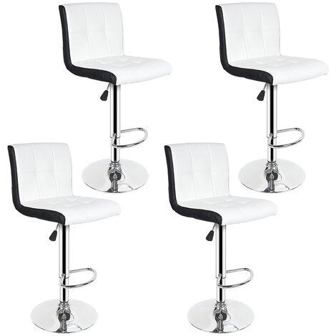 BATHRINS®4x Barhocker - Weiße und schwarze Imitation - Zeitgenössischer Stil - L 45 x T 49,5 cm