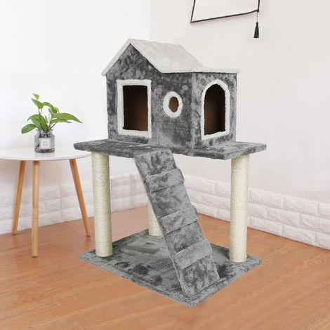 BATHRINS®Arbre à chat Cave Cottage avec échelle à colonne renforcée (version gris foncé)