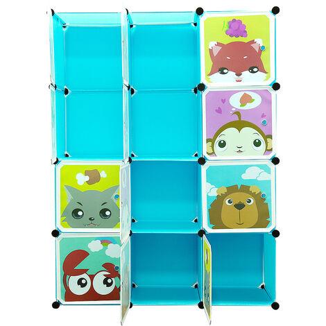 BATHRINS®Armarios Estantes infantiles de plástico azul, 12 Cubos Armarios Ropa Almacenamiento Muebles Zapatos Juguetes Dibujos animados