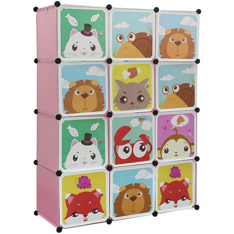 BATHRINS®Armarios Estantes infantiles de plástico Rosado,12 Cubos Armarios Ropa Almacenamiento Muebles Zapatos Juguetes Dibujos animados
