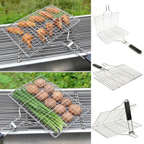 BATHRINS®Barbecue Portable en Acier Inoxydable 304 pour Saucisse Poisson, Poignée en Bois Pliable