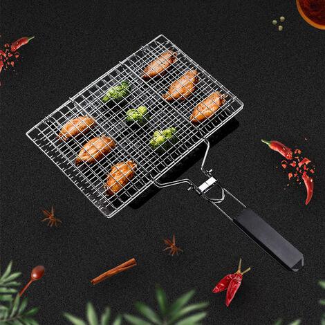 BATHRINS®Barbecue Portable en Acier Inoxydable 304 pour Saucisse Poisson, Poignée en Bois Pliable.