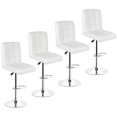 BATHRINS®Barhocker 4er-Set aus Kunstleder mit gut gepolstertem Sitz,verstellbare Hocker,WEISS