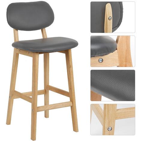 BATHRINS®Barhocker 4er Set, Designer Küchenhocker aus Kunstleder und Holz, grau