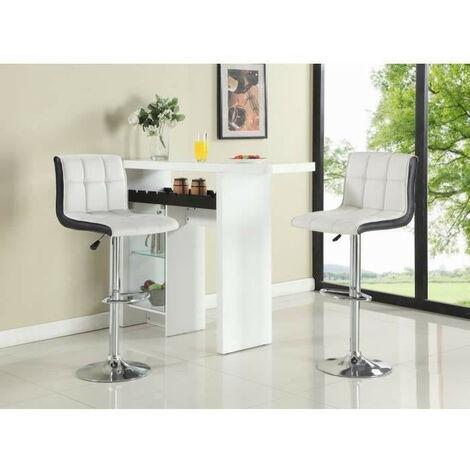 BATHRINS®Barhocker-weiß schwarz,2× Barhocker Tresenhocker Stuhl Küchenhocker,Verstellbarer Barstuhl mit sechs Fächern ohne Armlehnen,