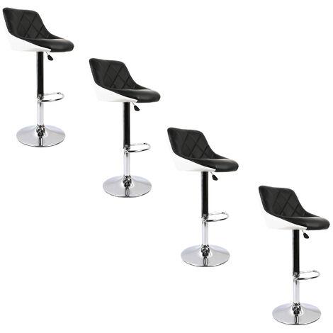 BATHRINS®Barhocker,4er set,mit gut gepolstertem Sitz,verstellbare Kunstlederhocker-Schwarz-Weiss