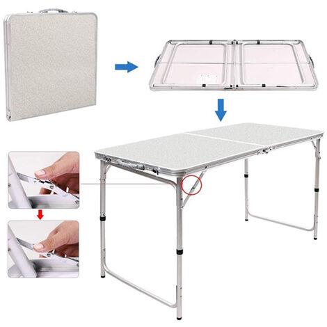 BATHRINS®Campingtisch klappbarer Partytisch Klapptisch Tisch Gartentisch 120*60*55-70cm mit 4 Stühlen,Picknicktisch
