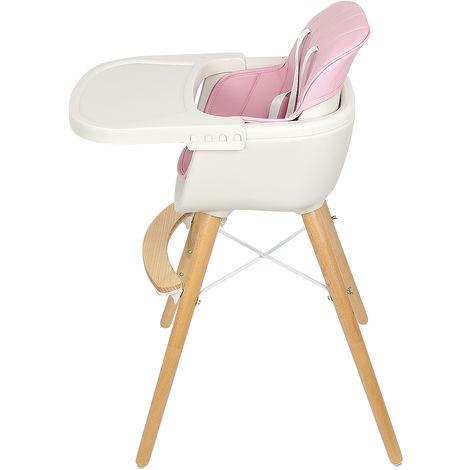 BATHRINS®Chaise haute repas bébé Enfant - Chaise Haute Chaise haute repas bébé Enfant - Chaise Haute Ergonomique, Plateau repas amovible, Réglable 2 hauteurs, Confortable, ROSE