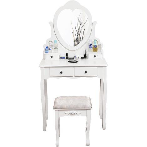 BATHRINS®Coiffeuse - avec miroir orientable et 4 tiroirs 75*40*138 cm