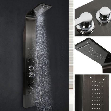 BATHRINS®Colonne de douche en acier, buse de massage,noir,