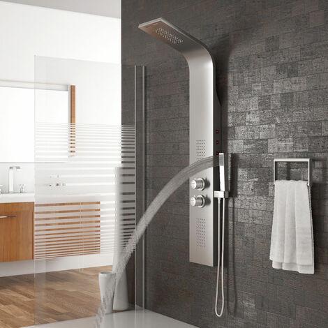 BATHRINS®Duschsäule,Extrem heiße Duschwand,LED, lila, Edelstahl,Duschsystem,Thermostatdusche,Bad