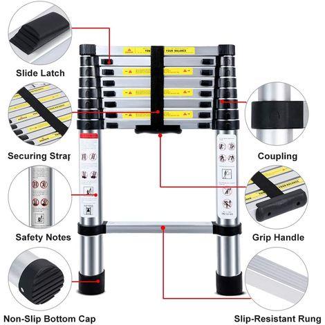 BATHRINS®Echelle Télescopique - Echelle Pliante-Echelle Escamotable en Aluminium (2.6M Pliante)