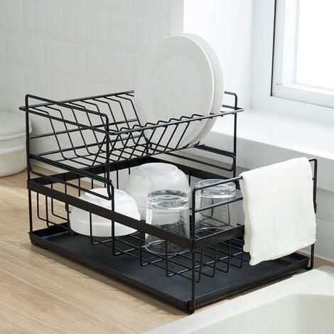 BATHRINS®Égouttoir à vaisselle en acier inoxydable,Grille de rangement pour cuisine, avec lèchefrite (noir)