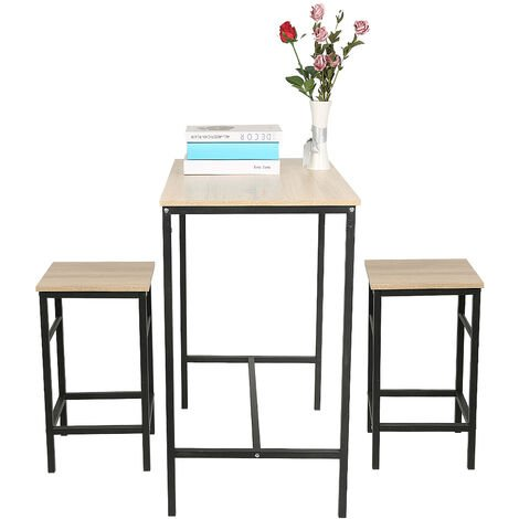 BATHRINS®Ensemble table de bar bistrot Style industriel + 2 tabourets avec repose-pieds Table Mange-debout Table haute cuisine