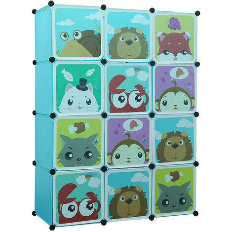 BATHRINS®Estantes de plástico para niños Armarios Azul,111*37*147cm 12 Cubos