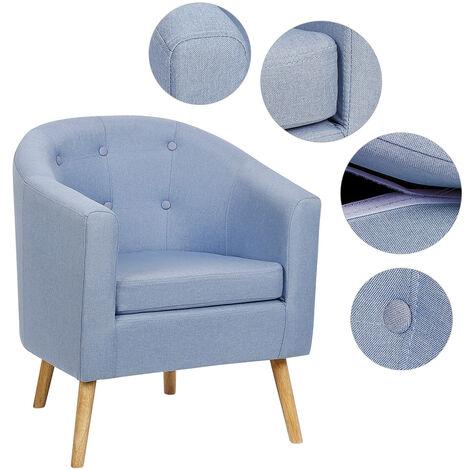 BATHRINS®Fauteuil scandinave \Chaise de canapé en lin Bleu
