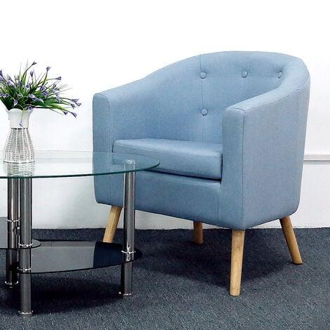 BATHRINS®Fauteuil scandinave \Chaise de canapé en lin Bleu.