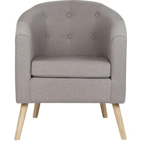 BATHRINS®Fauteuil scandinave \Chaise de canapé en lin Gris