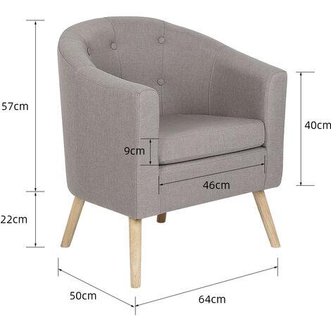 BATHRINS®Fauteuil scandinave \Chaise de canapé en lin Gris.