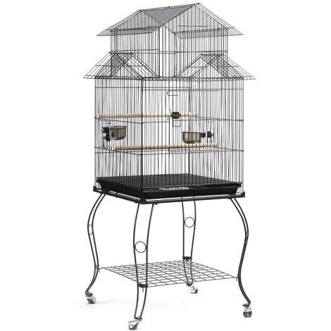 BATHRINS®Jaula para pájaros con ruedas Periquito Loro Canario Cacatúa Conure Finch Lovebird Outdoor 59 x 59 x 139,5 cm