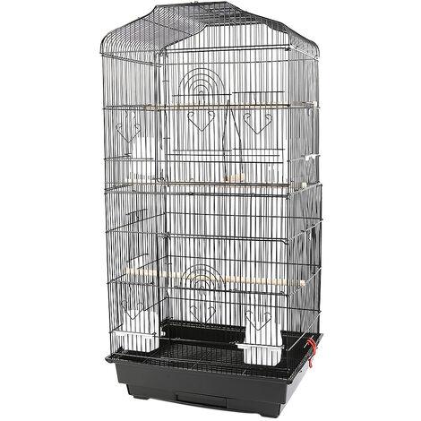 BATHRINS®Jaula para pájaros Pajarera para loros Canarios Periquitos Canarios 46 x 36 x 92 cm, con 4 comederos, 3 perchas Negro