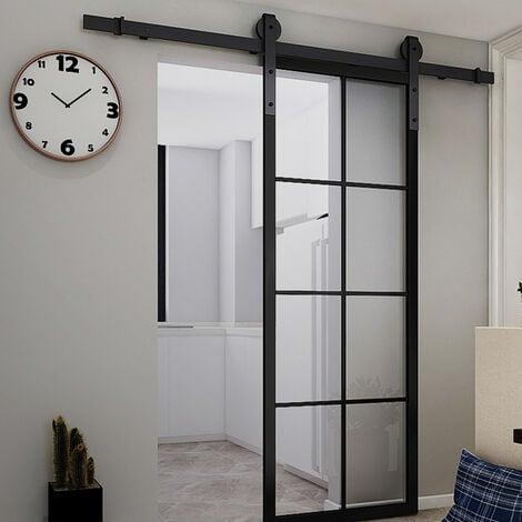 BATHRINS®Kit de porte coulissante système galandage pour porte d'une épaisseur de 35-45 mm et largeur max. 244cm – Noir.