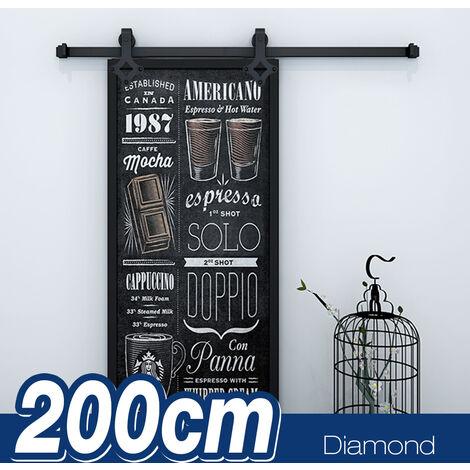 BATHRINS®Kit de porte coulissante système galandage pour porte d'une épaisseur de 35-45 mm et largeur max. 2M – Noir