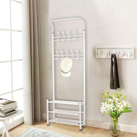 BATHRINS®Kleiderbügel Metallic - 18 Haken- 69,5 x 32,5 x 187,5 cm- Weiß