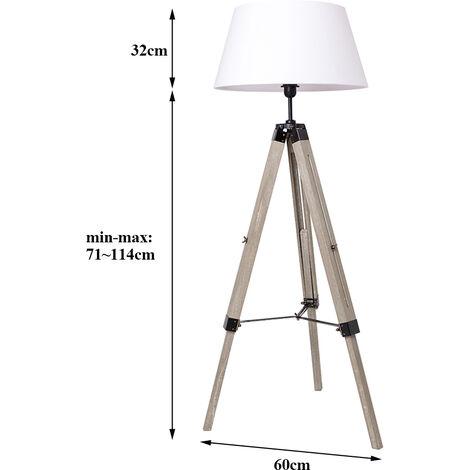 BATHRINS®Lampadaire réglable en hauteur 60 x 60x 99-146 cm ,Blanc