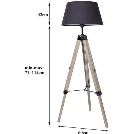 BATHRINS®Lampadaire réglable en hauteur 60 x 60x 99-146 cm ,Noir