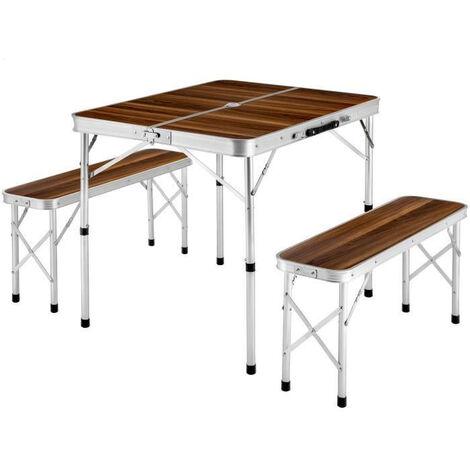 BATHRINS®Maleta Plegable Mesa de Camping 91 cm x 67,5 cm x 70,5 cm + 2 Bancos de Aluminio Marrón