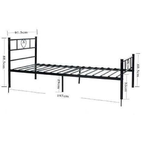 BATHRINS®Metallbett Metallbettrahmen mit Lattenrost für Gästebett Bettrahmen Jugendbett Bett in Schwarz, 90 x 200 cm Herz