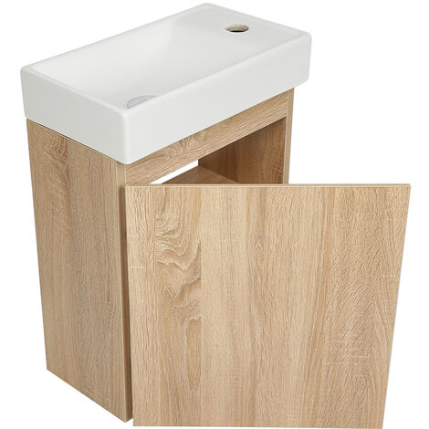 BATHRINS®Meuble Lave-mains avec Vasque en Résine 40.5*22.5*55cm Chêne