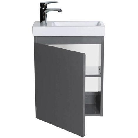 BATHRINS®Meuble Lave-mains avec Vasque en Résine 40.5*22.5*55cm- Gris foncé