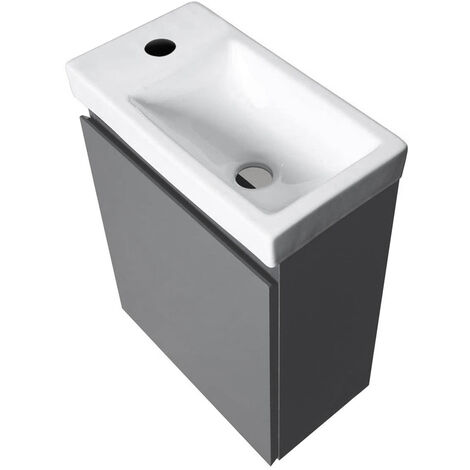 BATHRINS®Meuble Lave-mains avec Vasque en Résine 40.5*22.5*55cm Gris foncé