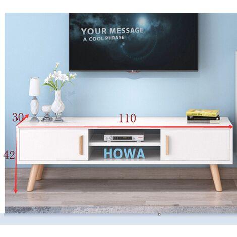BATHRINS®Meuble TV à pied en bois à double porte coulissante,Blanc 110 * 30 * 42cm