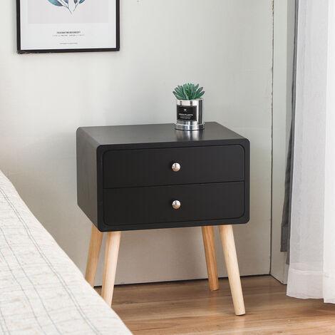 BATHRINS®Nachttisch skandinavisch schwarz Satin lackiert mit 2 Schubladen Nachttisch Füße Massivholz