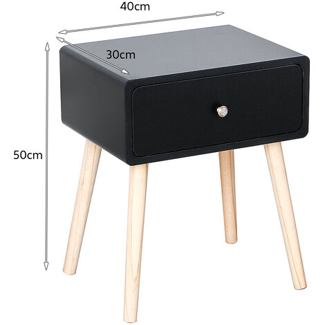 BATHRINS®Nachttische- 40 x 30 x 50 cm - Nachttisch mit 1 Schublade - 1 Stück schwarz - skandinavischer Schlafzimmerstil