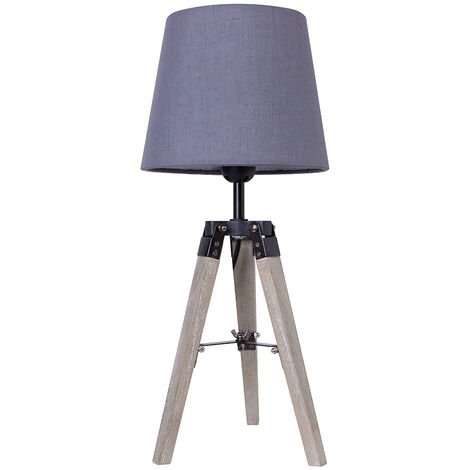 BATHRINS®Paquete de 2 Lámparas de mesilla trípode - Madera - gris