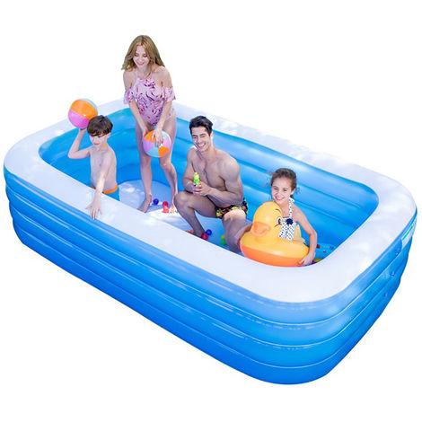 BATHRINS®Piscine gonflable rectangulaire pour la famille - 125 * 180 * 72cm bleu et blanc