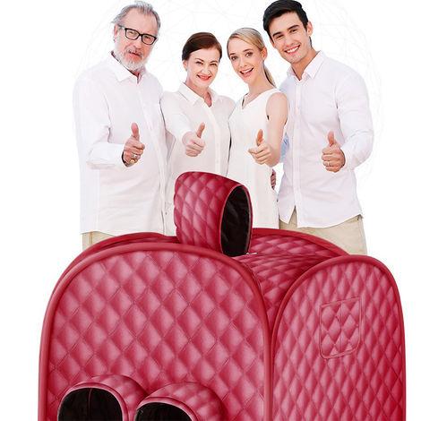BATHRINS®Sauna Infrarouge, Accueil Sauna Portable Changement Tente Grand Espace Sauna Hammam pour L'intérieur Perte De Poids De Désintoxication Relaxation Minceur,pour deux personnes,rouge