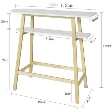 BATHRINS®Stehtisch hoch Massivholz Doppelschicht 112 * 48 * 111 cm