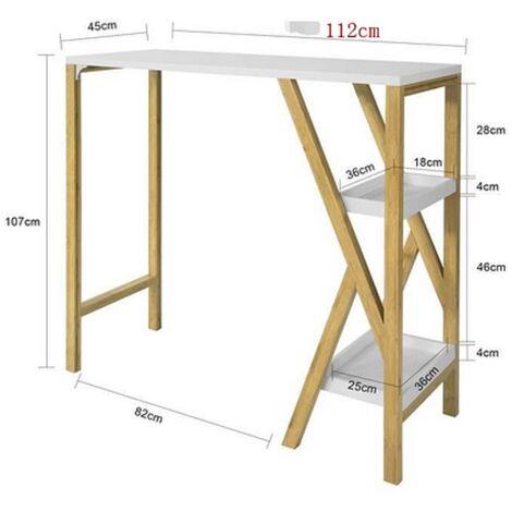 BATHRINS®Stehtisch hoch Massivholz mit Füßen K-förmig 112 * 45 * 107 cm