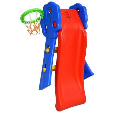 BATHRINS®Toboggan pour Enfants Aire de Jeux 2 en 1 avec Panier de basket et filet.