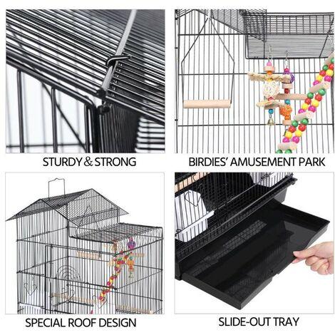 BATHRINS®Volière Cage à oiseaux pour petits oiseaux 46*35.5*99cm Canaries Perruches Habitat.