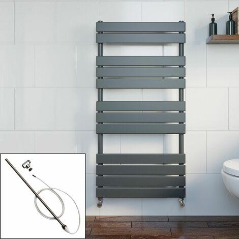 Bathroom 1200 x 600mm Manual Heated Towel Rail Radiator Anthracite Flat Panel